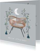 Prachtige felicitatiekaart wieg en bloemen geboorte jongen