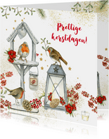 Prettige Kerstdagen vogelhuisje roodborstjes