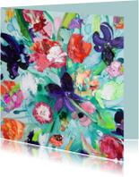 Bloemenkaarten - Print van boeket schilderij