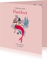 Purrfect Valentijnskaart met poes zeemeermin