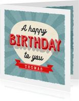 Retro Geburtstagskarte 'A happy birthday to you'