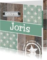 Retro groen met hout geboortekaartje
