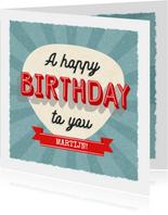 Retro verjaardagskaart man met typografie en aanpasbare naam