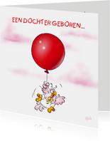 Rocco Geboorte dochter 4 baby aan ballon