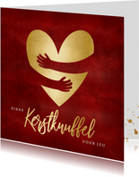 Rode corona kerstknuffel kerstkaart met gouden hart