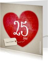 Rood hart - 25 jarig huwelijk