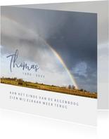 Rouwkaart aan het einde van de regenboog