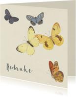 Rouwkaart bedankt met vintage vlinders