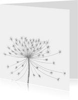 Rouwkaart bloemsilhouet grijs
