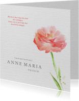 Rouwkaart - chique met bloem  waterverf