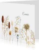 Rouwkaart droogbloemen