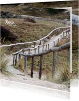 Rouwkaart Duinen houten trap