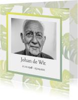 Rouwkaart foto en groene bladeren