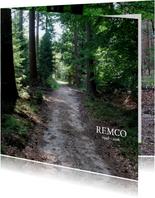 Rouwkaart foto van het bos