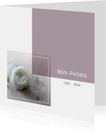rouwkaart foto witte roos