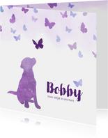 Rouwkaart huisdier hondje met vlinders