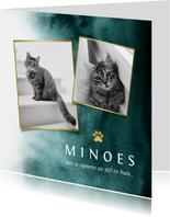 Rouwkaart huisdier kat fotokaart verf goud pootafdruk