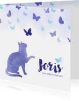 Rouwkaart huisdier kat met vlinders