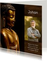 Rouwkaart met gouden Buddha en eigen foto