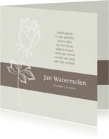 Rouwkaart met silhouet van roos en gedicht