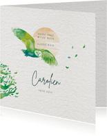 Rouwkaart met uil en boom - vlieg vrij - met voorbeeldfoto