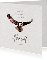 Rouwkaart met uil - vlieg vrij - met voorbeeldfoto