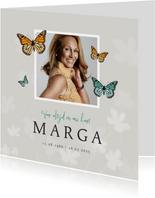 Rouwkaart natuurlijk vlinders foto bloemen man vrouw