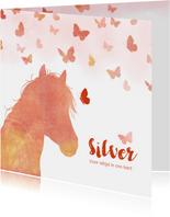 Rouwkaart paard met vlinders