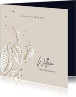 Rouwkaart vallende bladeren stijlvol minimalistisch