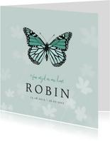 Rouwkaart vlinder stijlvol bloemen kind jongen meisje