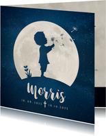 Rouwkaart voor een kind - silhouet jongen met paardenbloem