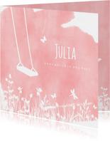 Rouwkaart voor een meisje - silhouet van een lege schommel