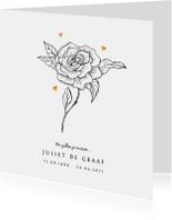 Rouwkaart vrouw met bloem en gouden hartjes