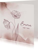 Rouwkaarten - Klaprozen watercolor vrouw