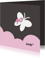 Rouwkaartje meisje op vlinder