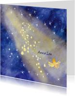 Rouwkaartje sterren in licht met vogel