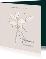 Rouwkaartkaart stijlvol minimalistisch met Lelie
