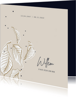 Rouwkaartkaart stijlvol minimalistisch met Vallende Bladeren