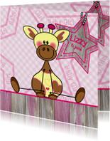 Roze geboortekaart Giraf meisje
