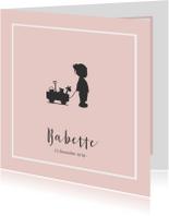 Roze geboortekaartje silhouet