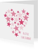 Roze hart met sterren