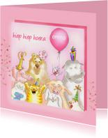 Verjaardagskaarten - Roze verjaardag dieren kaart
