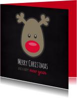 Kerstkaarten - Rudolph's bright red nose