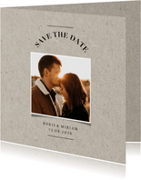 Rustikale Fotokarte Save-the-Date im Kartonlook