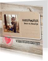Samenwonen postcard hout