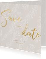 Save-our-Date-Karte zur Hochzeit feine Zweige