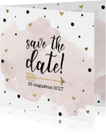 Save the date aquarel goudfolie