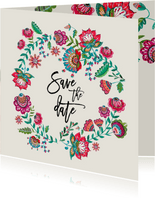 Save the Date bloemen modern