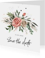 Save the Date Bohemian met bloemen
