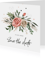 Save the Date Bohemian met bloemen